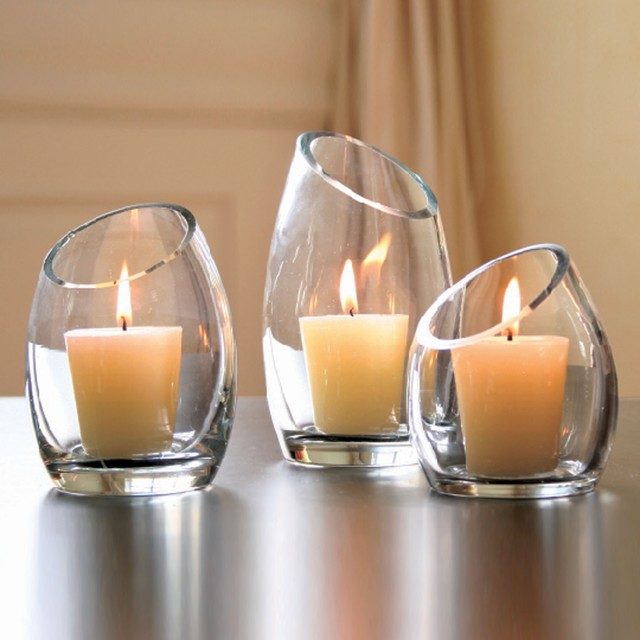 Hearthstone Diagonal Cut Glass Candle Holders modern candles and candle holders