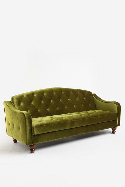 Ava Tufted Sleeper Sofa, Moss eclectic sofa beds