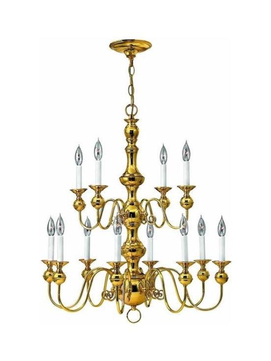 Hinkley Lighting 5129PB 2 Tier 12 Light Chandelier Virginian Collection -