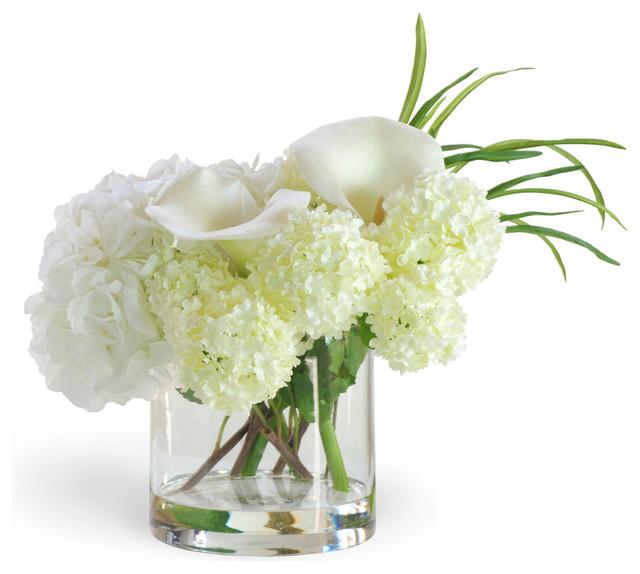 White Calla Lily and Hydrangea Arrangement