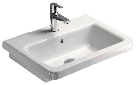 Rectangular White Ceramic Wall Mounted or Self Rimming Bathroom Sink, One Hole contemporary-bathroom-sinks