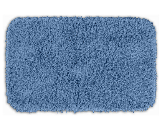 "Sands Rug - Quincy Super Shaggy Cool Blue Washable Runner Bath Rug (2' x 3'4"") - Jazz up your bathroom, shower room, or spa with a bright note of color while adding comfort you can sink your toes into with the Quincy Super Shaggy bathroom collection. Each piece, whether a bath runner, bath mat or contoured rug, is created from soft, durable, machine-washable nylon. Floor rugs are backed with skid-resistant latex for safety."