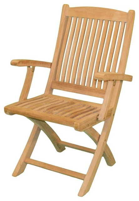 Harbor Folding Chair w Arms in Teak Transitional Outdoor Folding Chairs