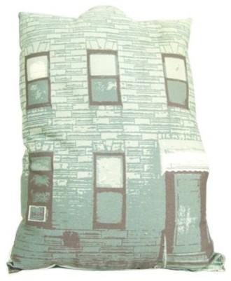 2 Story Building Pillow - Teal eclectic-decorative-pillows