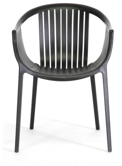 Baxton studio grafton black plastic stackable modern for Black plastic dining chairs