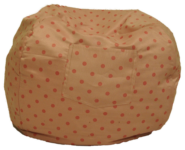 Fun Furnishings Small Bean Bag Polka Dots-Personalized in Pink traditional-kids-chairs