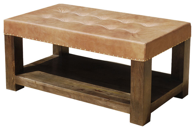 Solid Wood Leather Upholstered Coffee Table Bench Traditional Coffee Tables By Sierra