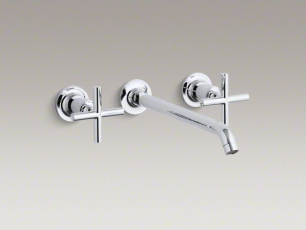KOHLER Purist(R) widespread wall-mount bathroom sink faucet trim with cross hand contemporary-bathroom-faucets-and-showerheads