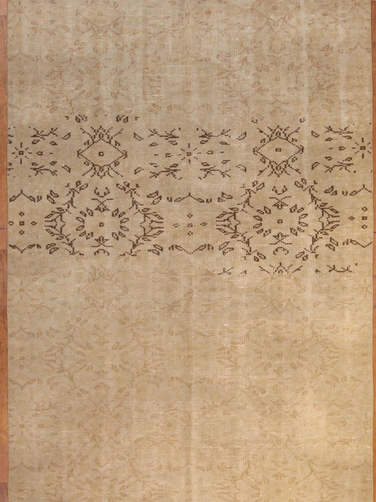 Beige with Contrast Pattern Overdyed Rug - Rich color with hints of underlying pattern revive well-loved vintage Turkish carpets into a truly fabulous area rug.