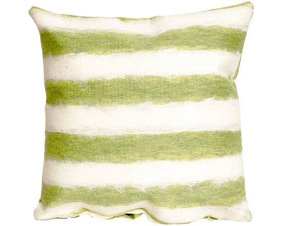 Liora Manne Green and Cream Soft Stripe Square Throw Pillow