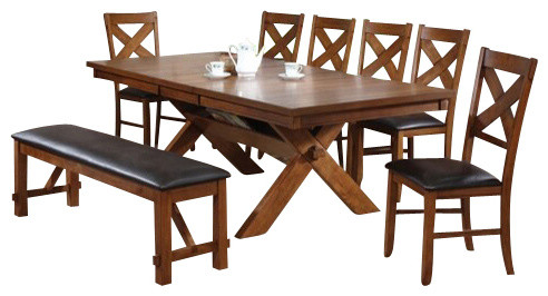 8-Piece Apollo Country Kitchen Style Collection Distressed Oak Finish Dining Set contemporary-dining-sets