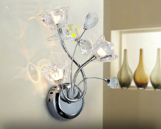 Modern Crystal Wall Sconce and Lamp in Chrome Finish - Modern Crystal Wall Sconce and Lamp in Chrome Finish