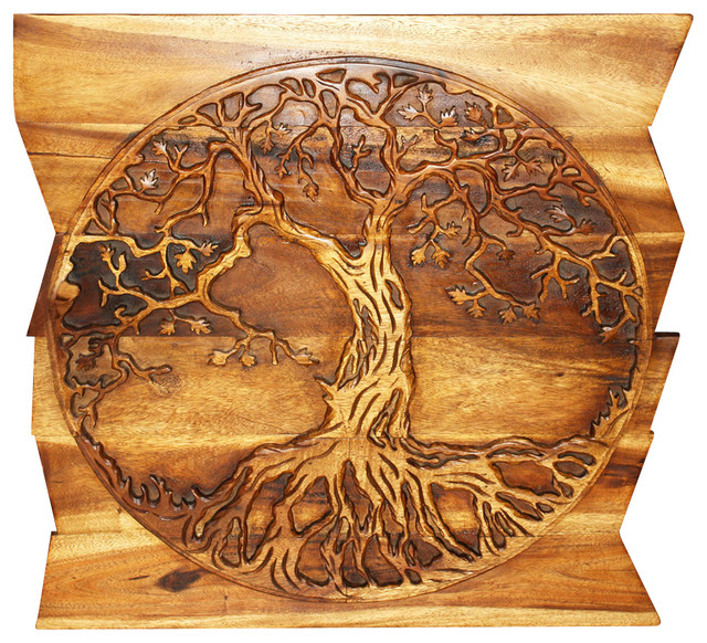 Wall Panel Tree of Life Round on Uneven Boards 36x36x2 inch E Frdly Livos Walnut craftsman-statues-and-figurines