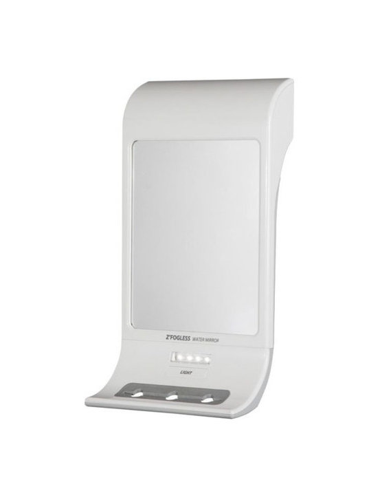 """Zadro - Z'Fogless Water Mirror - The ZFogless Water MIrror is the perfect shower accessory to help you achieve the perfect shave, in the shower. A patented built-in reservoir heats the mirror surface, keeping it fogless even in the hottest and steamiest showers. It also features a bright LED light which lights up the entire mirror face, making shaving even easier, no matter your lighting situation. The ZFogless Water Mirror comes standard with three razor or accessory holders, and mounts easily to most smooth surfaces via suction cups, silicone adhesive, or double-sided tape (included). The ZFogless Water Mirror is available in either Midnight Gray, or Stainless Steel finishes. Features: -Fogless, break-resistant mirror. -Bright LED light. -Three razor or accessory holders. -Mounts on most smooth surfaces with suction cups, silicone adhesive, or double sided tape (included). -Made in USA. Specifications: -Mirror surface dimensions: 6.25"""" Diameter. -Overall dimensions: 11.25"""" Height x 6"""" Width x 3.25"""" Depth."""