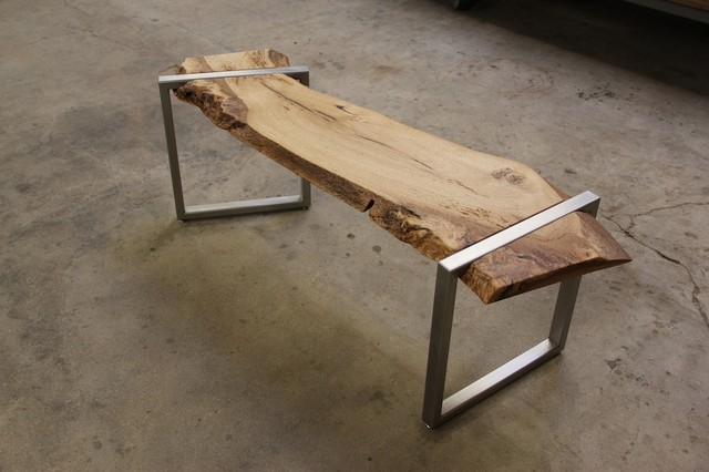 Live Edge Oak And Stainless Steel Bench