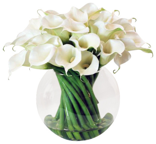 Calla Lily In Glass Flower Arrangement traditional-artificial-flowers-plants-and-trees