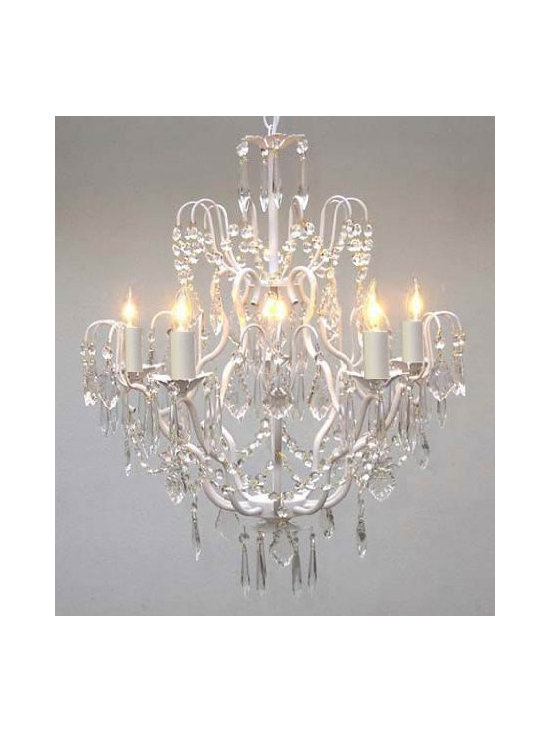 White Wrought Iron Crystal Chandelier -