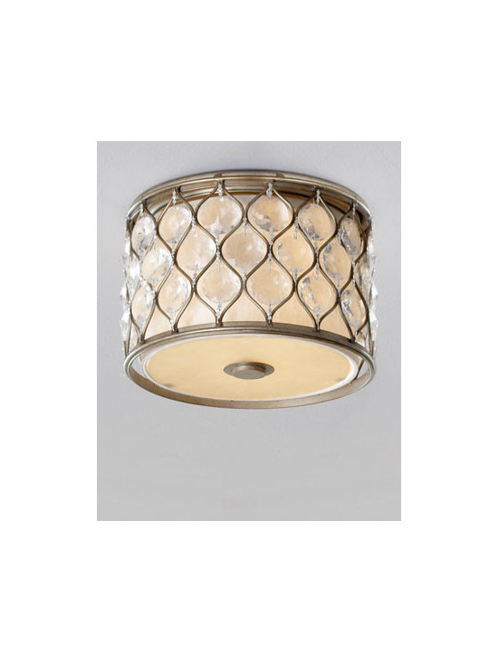 Horchow - Lucia Two-Light Flush Mount - Elegantly comprising a sleek metal frame with a burnished-silver finish and sparkling sunflower-shaped Bauhinia crystals over a neutral linen shade, this dazzling ceiling light fixture perfectly illuminates any room. Handcrafted of crystal, steel, and....