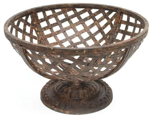 Metal Basket on Pedestal traditional-outdoor-pots-and-planters