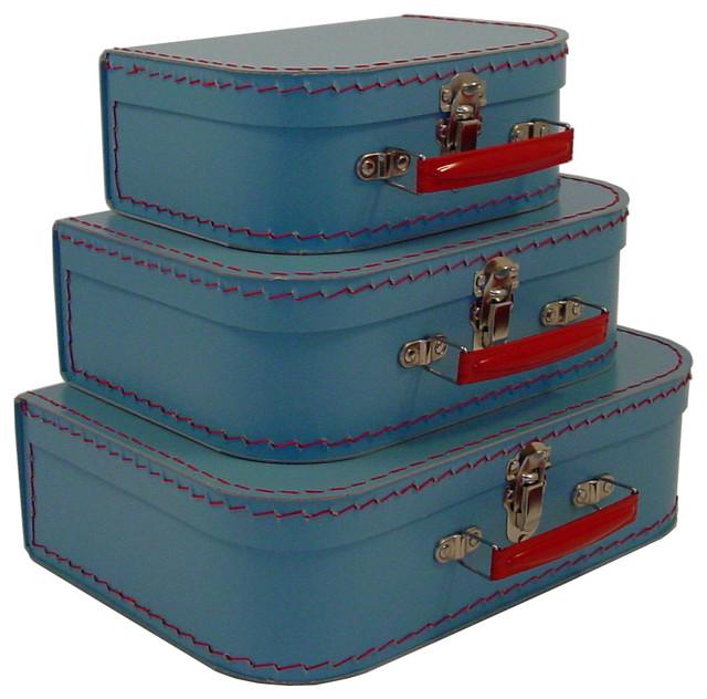 Cargo Traveler Mini Suitcases, Set of 3, Soft Blue transitional-decorative-boxes
