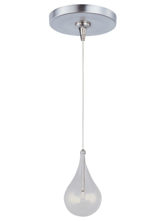 """ET2 - ET2 Minx Larmes RapidJack Clear Glass Mini Pendant - Modern mini pendant. Clear glass teardrop shade with polished chrome finish metal lamp holder. Satin nickel finish metal round canopy and details. Includes one 20 watt 12 volt G4 Xenon bulb. Light output is 320 lumens. 2900K color temperature warm light. 2000 hour rated average bulb life. Low-voltage design; transformer included. Includes 72"""" aircraft cable wire. Shade is 4 1/2"""" wide and 7 1/4"""" high. Canopy is 4 1/2"""" wide and 1"""" high. Maximum overall hang height is 80 1/2"""".   Modern mini pendant.  Clear glass teardrop shade with polished chrome finish metal lamp holder.  Satin nickel finish metal round canopy and details.  Includes one 20 watt 12 volt G4 Xenon bulb.  Light output is 320 lumens.  2900K color temperature warm light.  2000 hour rated average bulb life.  Low-voltage design; transformer included.  Includes 72"""" aircraft cable wire.  Shade is 4 1/2"""" wide and 7 1/4"""" high.  Canopy is 4 1/2"""" wide and 1"""" high.  Maximum overall hang height is 80 1/2""""."""