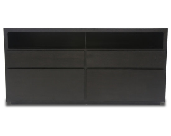 Bryght - Ceni Ebony Sideboard - The Ceni Sideboard combines simple forms with a modern design and brings versatility and quality to any living space. Elegantly rounded drawers and multi storage options makes the Ceni Sideboard a perfect fit for all living and dining rooms.