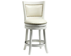 """Boraam 24"""" Bristol Swivel Stool in White transitional-bar-stools-and-counter-stools"""