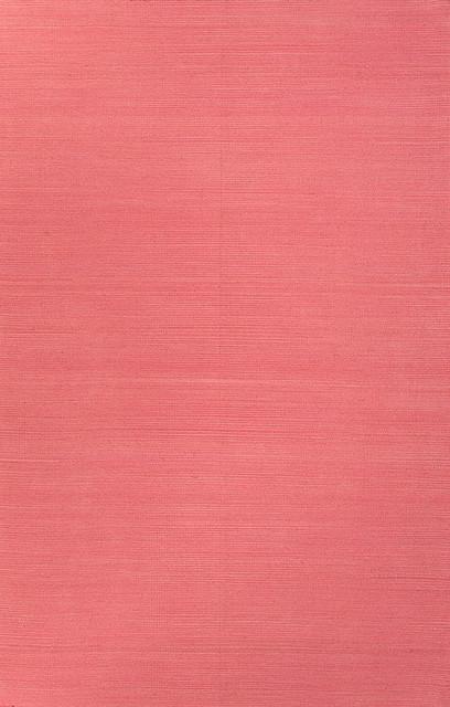 Flat-Weave Solid Pattern Wool Pink/Area Rug (4 x 6) mediterranean-rugs