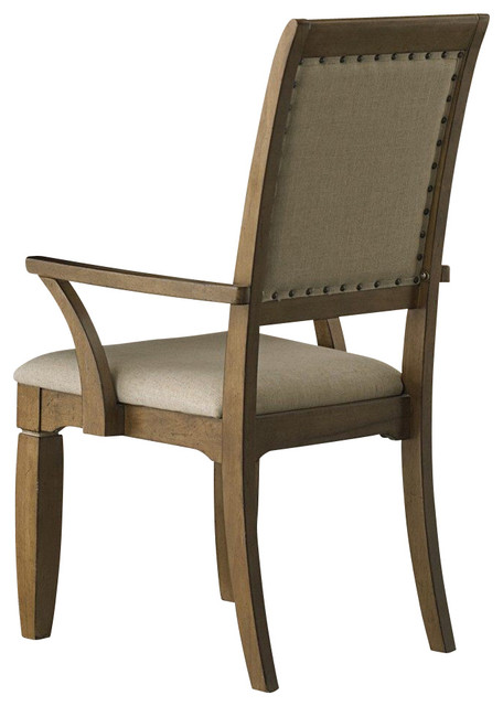 Liberty Furniture Town & Country Upholstered Arm Chair in Sand, Light Wood (Set traditional-dining-chairs