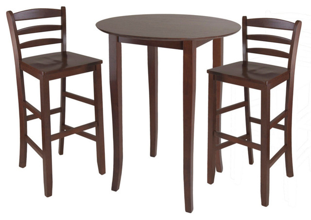 Winsome Wood Fiona 3 Piece High Round Table W Ladder Back