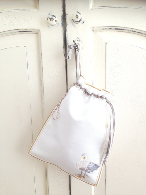 Handmade Linen Cosmetic/Storage/Laundry Bag, Seb the Seagull by LMD Simply Be contemporary-storage-and-organization