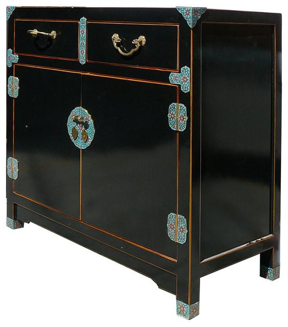 Unique Chinese Black Lacquer Cloisonne Deco Side Table