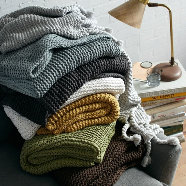 Chunky Tassel Throw contemporary throws