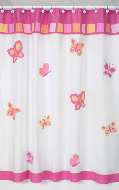 Pink and Orange Butterfly Kids Shower Curtain contemporary-showers