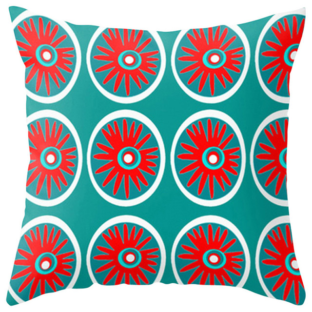 Modern Outdoor Pillow, Red and Turquoise contemporary-outdoor-pillows