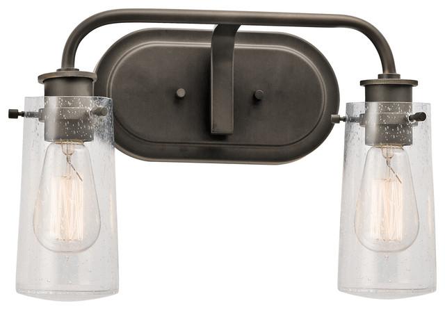 Kichler lighting 45458oz braelyn olde bronze 2 light - Farmhouse bathroom vanity lights ...