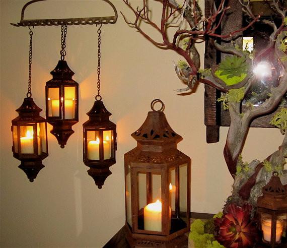 Patina Hanging Lantern By madebysheri mediterranean-outdoor-flush-mount-ceiling-lighting