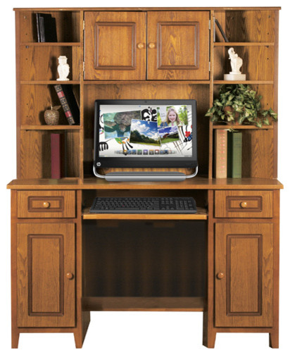Oak Corner Computer Desk And Hutch Combo Traditional
