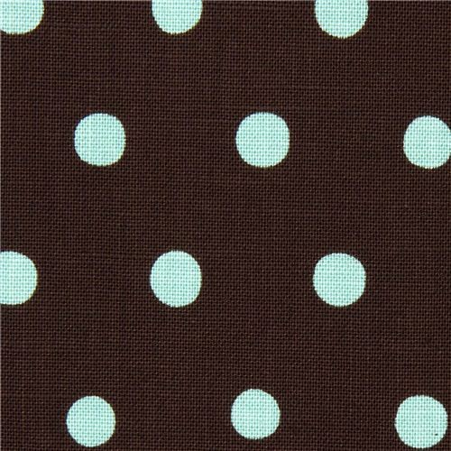 brown echino canvas fabric with turquoise polka dots fabric