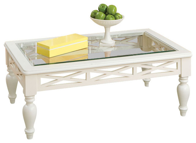 Standard Furniture Cambria 3 Piece Glass Top Coffee Table Set In White Traditional Furniture