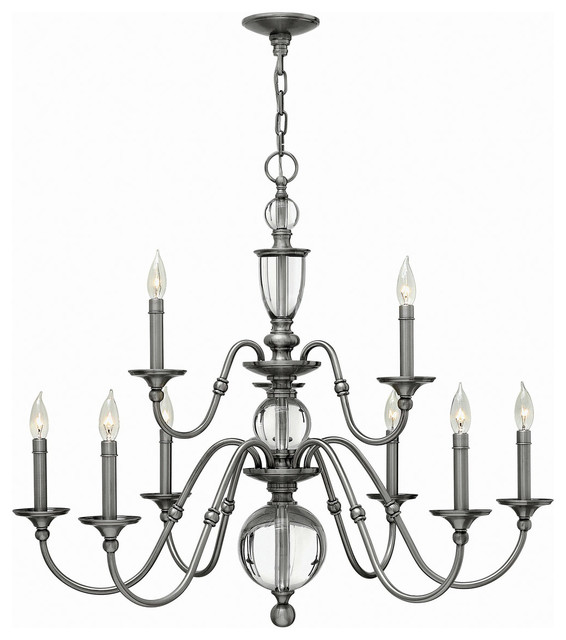 Hinkley Lighting 4958PL Eleanor 9 Light Chandeliers in Polished Antique Nickel rustic-chandeliers