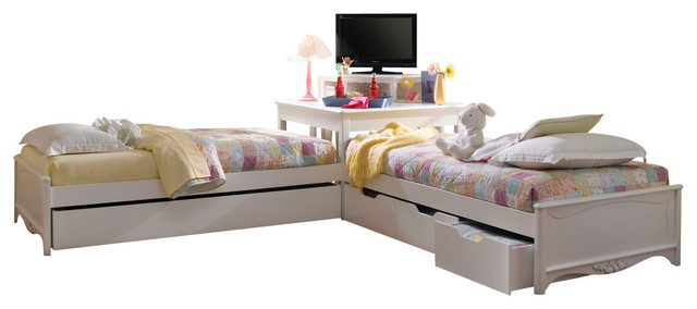 Lea Haley 2 Twin Platform Beds With Corner Unit In White Traditional Kids Beds By Beyond
