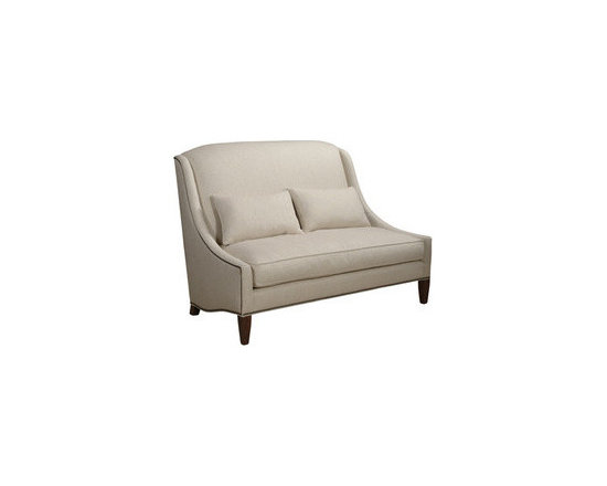 ecofirstart - Calvin Settee - Sustainable and Organic Sofa. A gorgeous, sophisticated settee with a high back and decorative nailhead trim, this piece will keep your place looking chic for years to come. Made with 14 gauge marshall springs encased in ecofriendly polyurethane. This style may range from sleek and contemporary to graceful and classic, but all of it shares these common denominators: Pieces are handmade using durable materials, and linked by a heritage of quality construction. This sofa may be upholstered in another fabric. Pillows are included.
