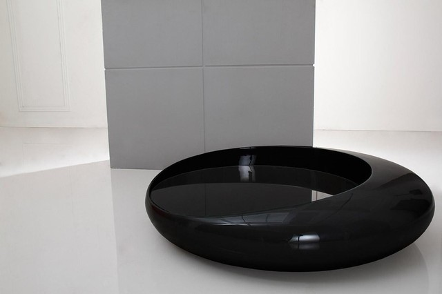 Futuristic glossy black round coffee table galaxy modern coffee tables