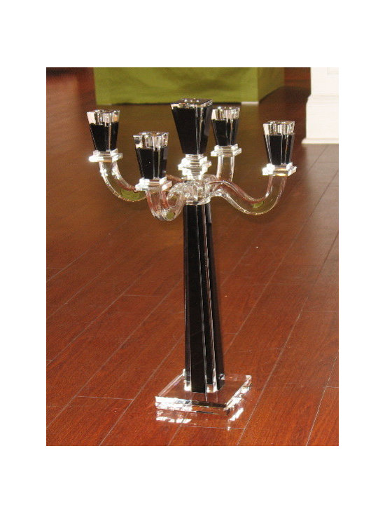 Crystal Clear And Black Candelabrum -