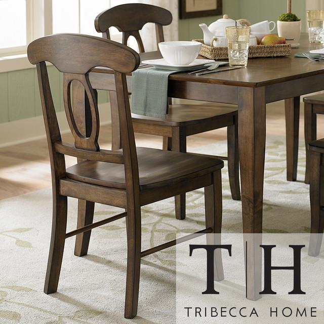 tribecca home barnet walnut napoleon casual side chair