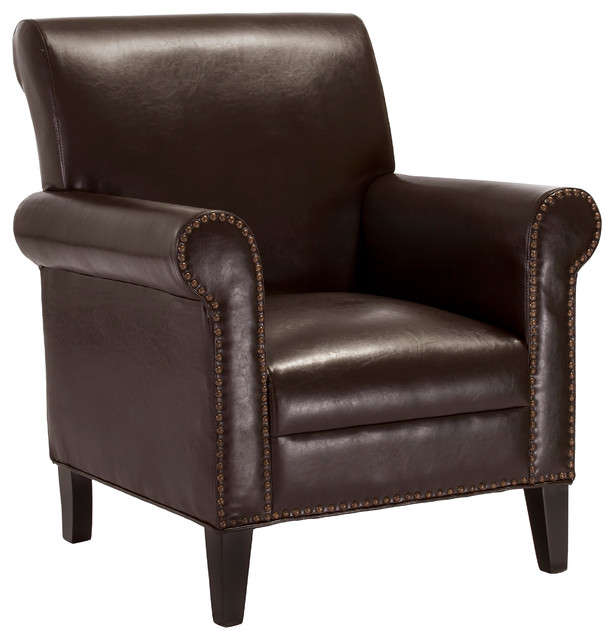 Ryker Chocolate Brown Leather Club Chair Contemporary Armchairs And Accent Chairs By Great