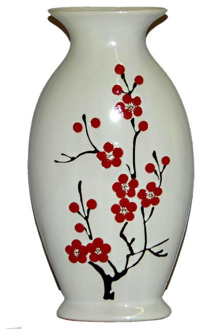 Ceramic Hand Painted Cherry Blossom Vase Contemporary