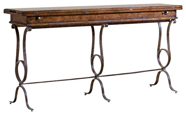 Arrondissement Villette Flip Top Console - Heirloom Cherry Finish - Traditional - Console Tables ...