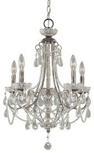 Crystal Tear Drop 5 Light Up Lighting Mini Chandelier traditional-chandeliers